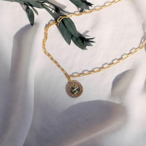 שרשרת עם תליון מטבע לנשים כסף בציפוי זהב
